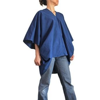ジョムトン手織り綿デザイン貫頭衣 インディゴ(BFS-174-03)
