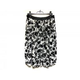 【中古】 ニジュウサンク 23区 スカート サイズ44 L レディース 黒 白 花柄