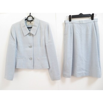 【中古】 クレージュ COURREGES スカートスーツ サイズ11AR67 レディース ライトブルー 白 肩パッド