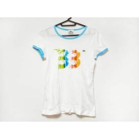 【中古】 ラコステ Lacoste 半袖Tシャツ サイズ38 M レディース 白 ライトブルー マルチ