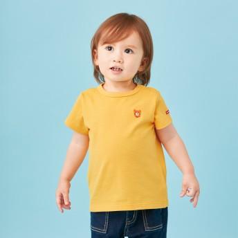 ミキハウス ポイント刺繍入り半袖Tシャツ 黄
