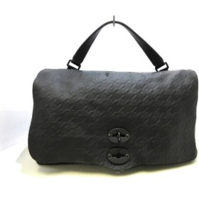【中古】 ザネラート ZANELLATO ハンドバッグ 美品 ポスティーナ 黒 型押し加工/千鳥格子 レザー