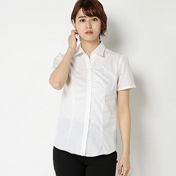 【ピュアラスト】綿100%形態安定胸ギャザー半袖ブラウス(レディース) オフホワイト