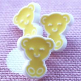 (3個)黄色のクマちゃんのボタン フランス製