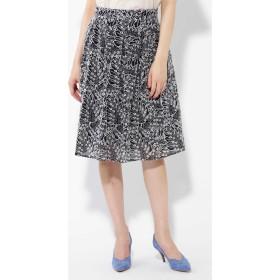 ボタニカル刺繍スカート ネイビー1