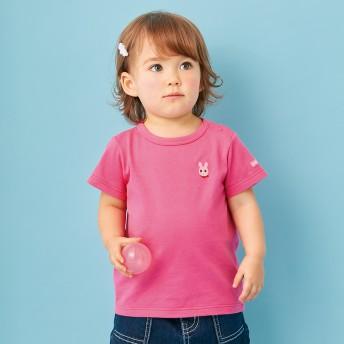 ミキハウス ポイント刺繍入り半袖Tシャツ ローズ