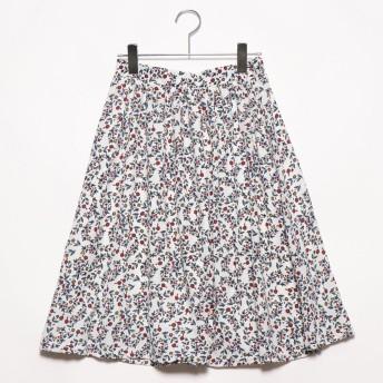 プライベートビーチ privatebeach ジョーゼットひざ丈スカート (小花ホワイト)