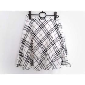 【中古】 バーバリーブルーレーベル スカート サイズ38 M レディース アイボリー 黒 マルチ チェック柄