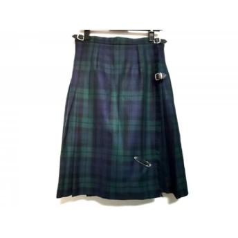 【中古】 オニール 巻きスカート サイズI 44 レディース グリーン ネイビー 黒 プリーツ/チェック柄