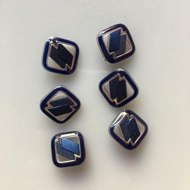 アンティーク ボタン 6個セット ビンテージ 昭和 レトロ 個性的 ハンドメイド素材 紺 ネイビー 青 ブルー ポップ
