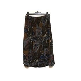 【中古】 スキャパ Scapa ロングスカート サイズ40 XL レディース 美品 ダークブラウン 黒 マルチ