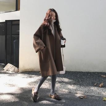 新作 秋冬 チェスターコート レディース ウール スプリングコート 大きいサイズ 羽織 アウター 襟付き 韓国ファッション 防寒
