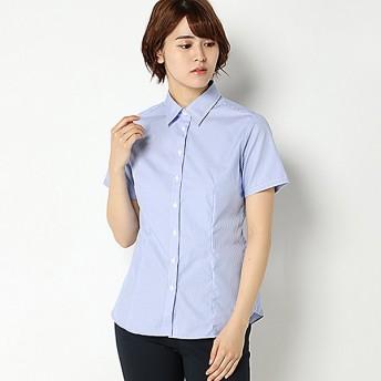 【ピュアラスト】綿100%形態安定レギュラー衿半袖ブラウス(レディース) ブルーピンストライプ