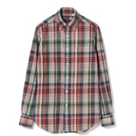BEAMS F / レッド マドラスチェック ボタンダウンシャツ メンズ カジュアルシャツ MAPRAS/004 41