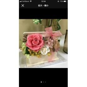母の日に☆クリアケース付き!プリザーブドボックスアレンジ ピンク