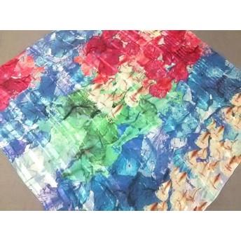 【中古】 ランバンコレクション LANVIN COLLECTION スカーフ ピンク ブルー マルチ ストライプ/花柄