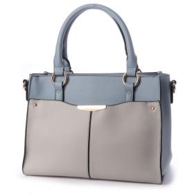 フィラノ FIRANO 【2点SET】配色フロントポケットショルダーハンドバッグ(ポーチ付き) (BLUE)