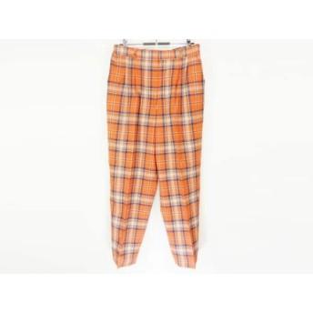 【中古】 ダックス DAKS パンツ サイズL メンズ オレンジ ネイビー マルチ チェック柄