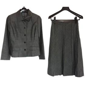 【中古】 ニューヨーカー NEW YORKER スカートスーツ サイズ7 S レディース 美品 ダークグレー