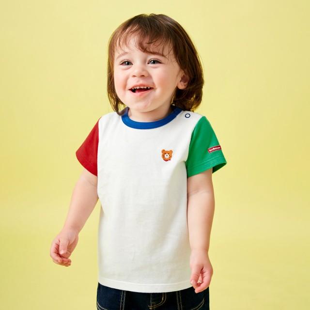 ミキハウス ポイント刺繍入り半袖Tシャツ マルチカラー