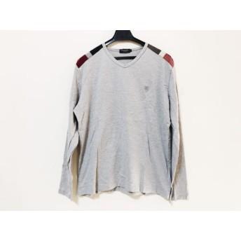 【中古】 ブラックレーベルクレストブリッジ 長袖Tシャツ サイズ3 L メンズ ライトグレー 黒 レッド