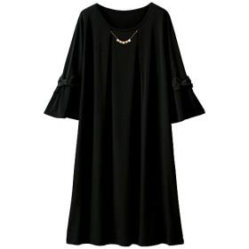 50%OFF【レディース大きいサイズ】 ワンピース(アクセサリー付き)(ブラックフォーマル) - セシール ■カラー:ブラック ■サイズ:3L