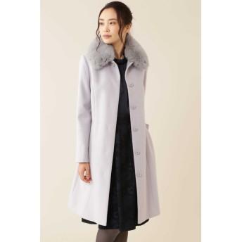 カシミヤ混フォックスファー襟ロングウールコート グレー2