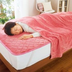 ベルーナインテリア お買得!吸湿発熱あったか敷パッド&毛布セット ピンク 1