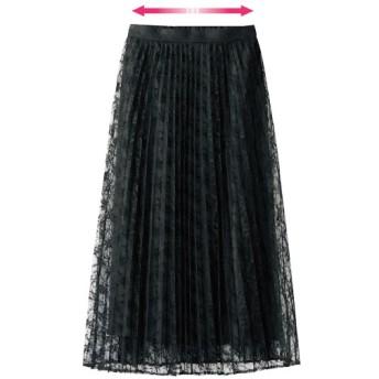38%OFF【レディース】 レースプリーツスカート(フォーマル・卒業式・入学式) - セシール ■カラー:ブラック ■サイズ:L,M