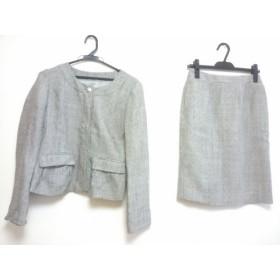 【中古】 コムサイズム COMME CA ISM スカートスーツ サイズM レディース 美品 グレー ツイード