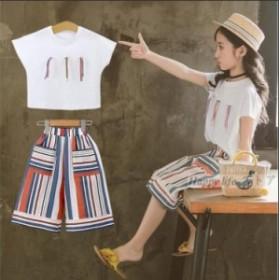 d57dfcd372824 子供服 女の子 セットアップ 夏 半袖Tシャツ ガウチョパンツ 上下セット ワイドパンツ キッズ ジュニア