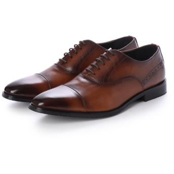 ジーノ Zeeno ビジネスシューズ メンズ 革靴 ロングノーズ 防滑 ストレートチップ レースアップ 内羽根 (Brown)