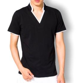 Tシャツ - リベルテ リッシュ[liberte riche] tシャツ メンズ 半袖 Vネック ポロシャツ レイヤード スタンドカラー 無地 襟袖ライン キレイめ カジュアル トップス 黒 白ML XL