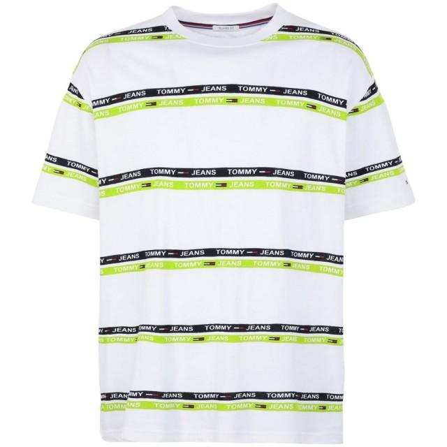 《セール開催中》TOMMY JEANS メンズ T シャツ ライトグリーン S コットン 100% TJM SIGNATURE STRIPE