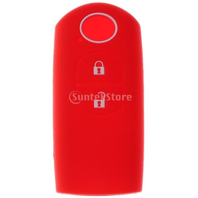 13カラー選択 マツダに適する 2ボタン リモートキー シリコーン製 キーケースカバー 高品質 保護ケースカバー - レッド