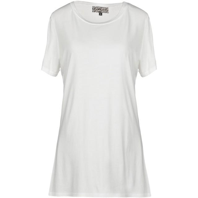 《期間限定 セール開催中》GROCERIES レディース T シャツ ホワイト S 指定外繊維(ヘンプ) 60% / オーガニックコットン 40%