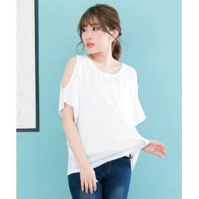 夢展望 ワンショルダーor肩開きTシャツ レディース ホワイト系1 L 【YUMETENBOU】