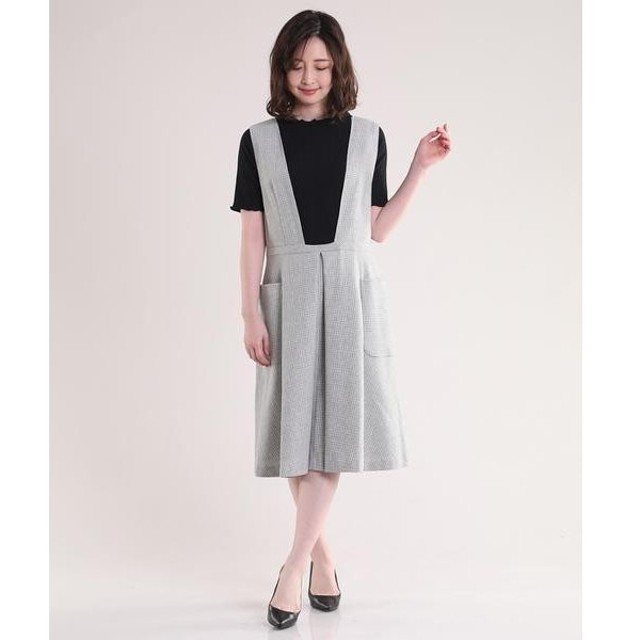 ef-de / エフデ 千鳥格子タックワイドジャンパースカート