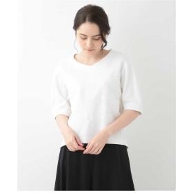CHRISTIAN AUJARD 【洗える・日本製品】鹿の子フラワーモチーフプルオーバー Tシャツ・カットソー,ホワイト