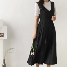 ワンピース   ジャパースカート  プリーツスカート  ドレス