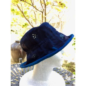 藍染古布 帽子 アイヌ刺しゅう