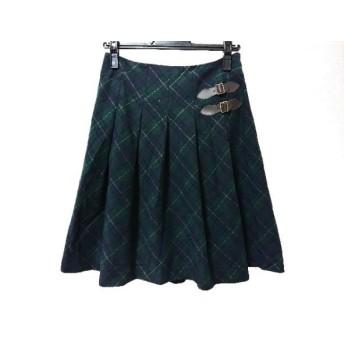 【中古】 ホコモモラ スカート サイズ40 XL レディース ダークグリーン ダークネイビー マルチ