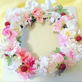 フラワーリース カーネーションmix ピンクとホワイト プレゼント 記念日 誕生日 プレゼント