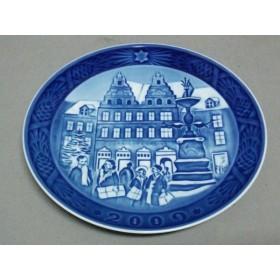 【中古】 ロイヤルコペンハーゲン プレート 新品同様 ネイビー ブルー 2009年イヤープレート 陶器