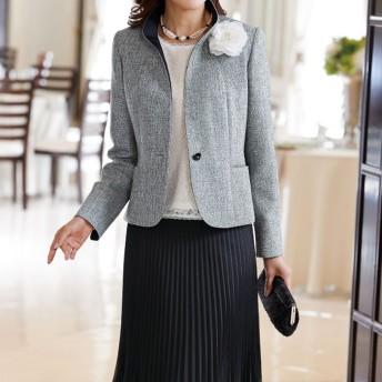 ベルーナ プリーツスカート付モノトーン素材4点セットスーツ
