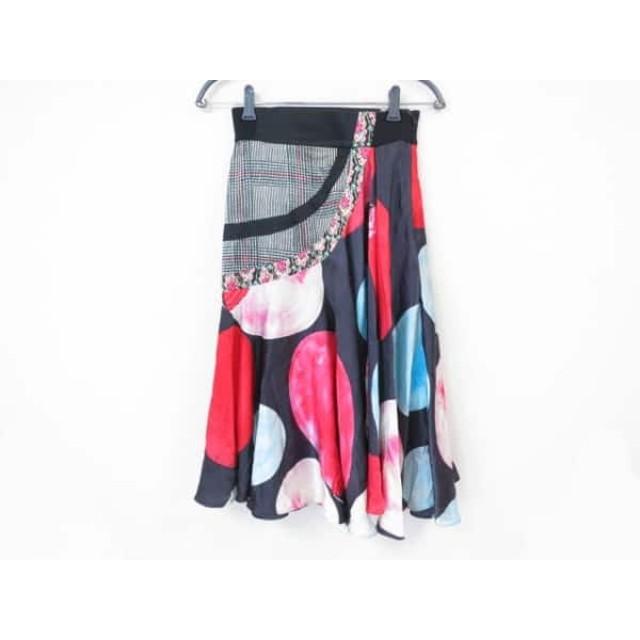 【中古】 ツモリチサト TSUMORI CHISATO ロングスカート サイズ2 M レディース 黒 レッド マルチ