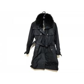 【中古】 バーバリーロンドン コート サイズ36 M レディース 黒 ジップアップ/ファー/冬物