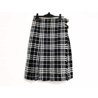 【中古】 バーバリーロンドン 巻きスカート サイズ42 XL レディース ネイビー アイボリー チェック柄