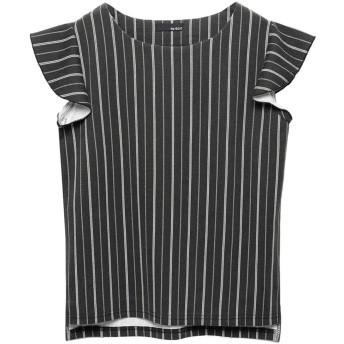 リエディ Re: EDIT [リエディ]ショルダーフリルリラックスポンチトップストップス/カットソー・Tシャツ (ブラック×ホワイト)