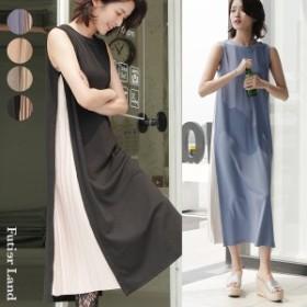 秋新作 ワンピース ノースリーブ 韓国 ファッション / サイドスリットプリーツノースリーブロングワンピース
